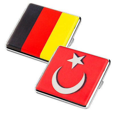 Cigarette Case Box for 20 Filter 2 Compartment Configurable Countries Flags