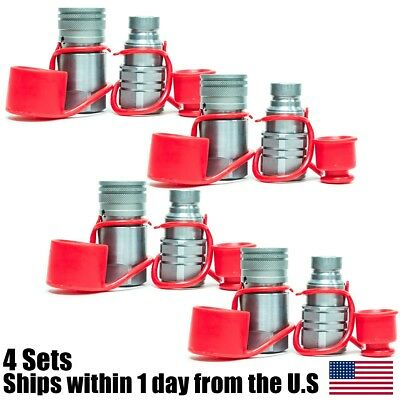 "1/2"" NPT Skid Steer Bobcat Flat Face Hydraulic Quick Connect Couplers 4 Sets"