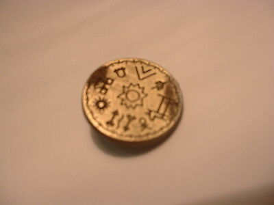 antique egyptian hieroglyphics button hat badge ring