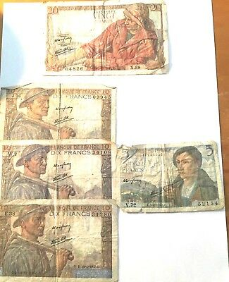 French/France Paper Money 1940's