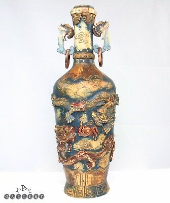 "Antique 11"" Chinese Polychromed Bovine Bone Vase c.1920"