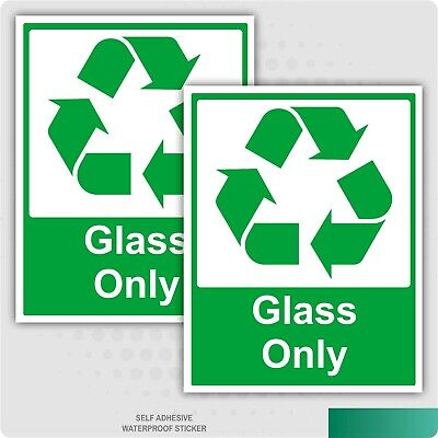 2 x GLASS ONLY GREEN SELF ADHESIVE STICKERS SAFETY SIGNS BUSINESS