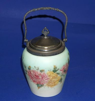 Victorian Hand Painted Glass Cracker Jar Marked Van Bergh Silver Plate On Cover
