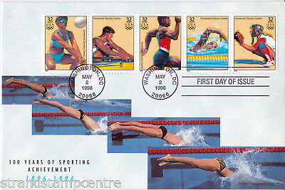 1996 Olympics - Set of Four covers, all 20 stamps - Washington DC Cancel