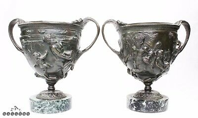 Antique Roman Bronze Centaurs Cup Pompeii Kantharos Pair - 19th C Grand Tour