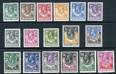 NORTHERN RHODESIA-1925 set to 20/-.  A lightly mounted mint set Sg 1-17