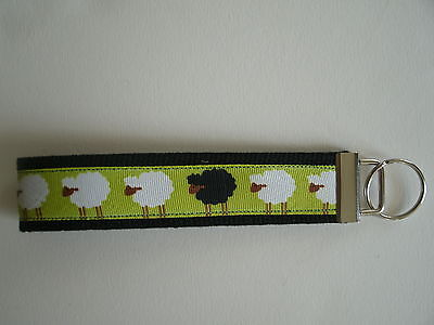 White and Black Sheep Key Fob Key Chain Wristlet FREE SHIPPING Made in USA