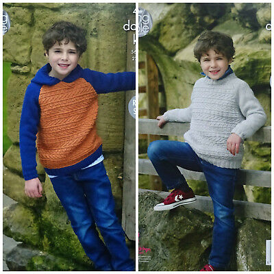 KNITTING PATTERN Boys Long Sleeve Round Neck or Hooded Jumper DK King Cole 4922