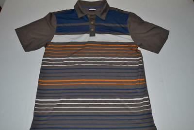 Nike Golf Gray Navy Blue White Striped Dry Fit Polo Shirt Mens Size Small S
