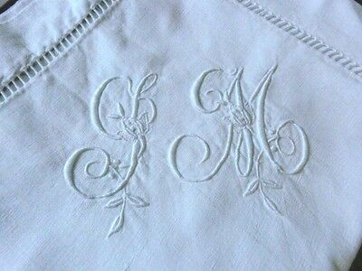 PAIR Antique French Métis Linen Embroidered Pillow case SM monogram unused /2