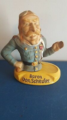 (VTG) jim beam whisky baron von scheuter ace pilot back bar ceramic statue rare