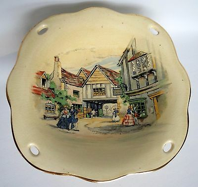 Charming Vintage Royal Winton Grimwades Small Pedestal Footed Dish Ye Olde Innes