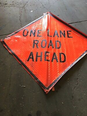 One Lane Road Ahead Fluorescent Vinyl With Ribs Road Sign 48 X 48