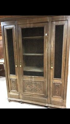 Antique French three door armoire with chicken wire doors