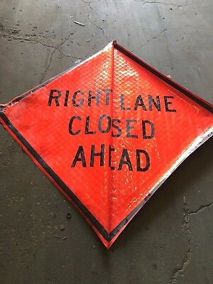 Right Lane Closed Ahead Fluorescent Vinyl With Ribs Road Sign 48 X 48