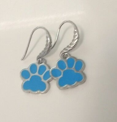 Dog paw earrings Handmade in US Blue and Silver