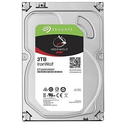 "Seagate SATA 3.5"" NAS HDD IronWolf 3TB 5900RPM 64MB Internal Hard Disk Drive PC"
