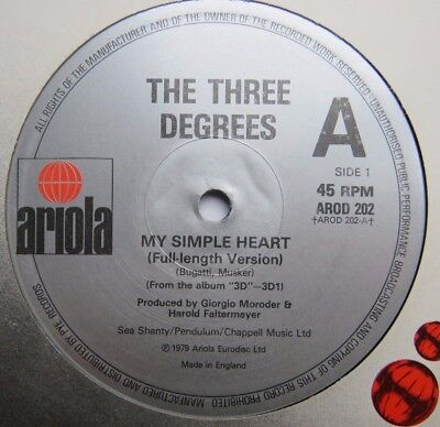 "THREE DEGREES - My Simple Heart - Excellent Condition 12"" Single Ariola AROD 202"
