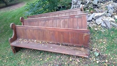 10 VINTAGE PINE CHURCH PEWs BENCH