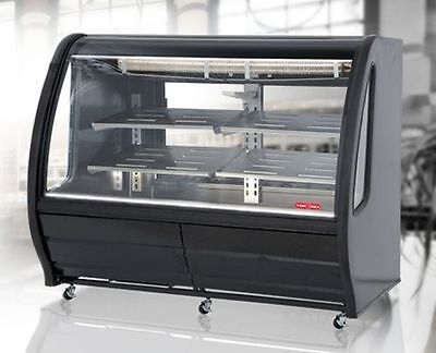 "New Black 74"" Curved Glass Deli Bakery Display Case Refrigerated Or Dry Casters"