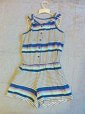 Size 8  Girls Stripped One-piece Shorts/ Overalls Blue, Purple, White VG Cond