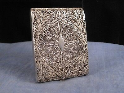 Antique Filigree Silver Wire Hand Worked Cigarette Card Case Pocket Box Smoking