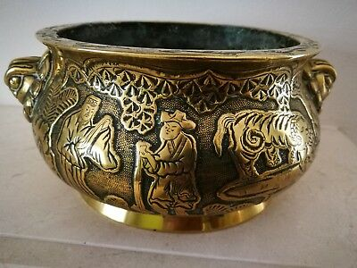 Antique Chinese Bronze / Brass Censor Bowl Six Character Mark