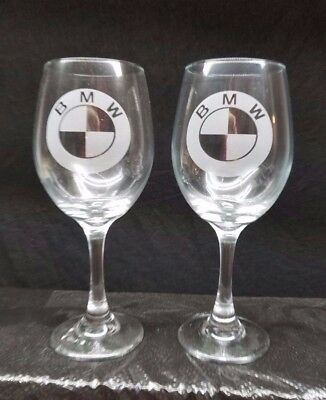 Set Of 2 Nice  Etched Drinking Wine Glasses, Bmw Emblems