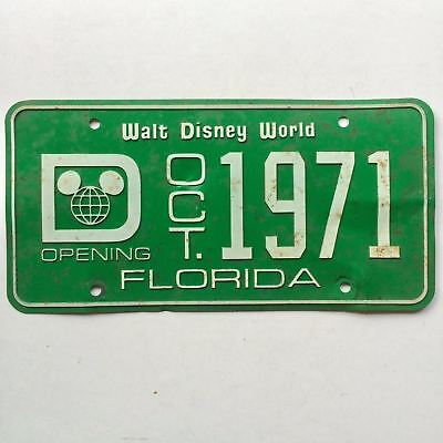 Florida 1971 Disney Old License Plate Garage Car Tag Front Booster Green Mickey