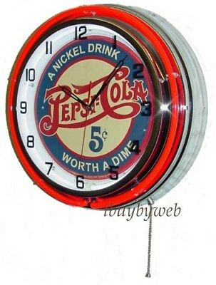 "18"" Red Pepsi Cola Soda Double Neon Retro Man Cave Game Room Wall Clock Metal"