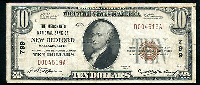 1929 $10 The Merchants Nb New Bedford, Ma National Currency Ch. #799