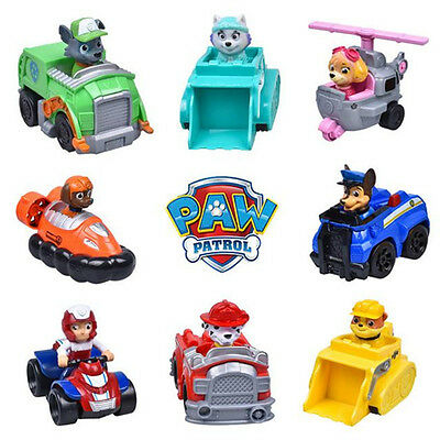 Cute Paw Patrol Action Figures Pup Dog Doll Racer Car Set Kids Baby Boy Girl Toy