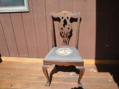 Antique Soild Mahogany Carved Ball Claw Chippendale Side Chair