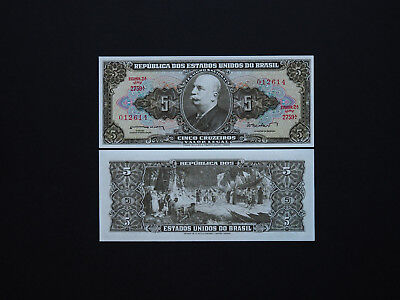 BRAZIL BANKNOTES  5 CRUZEIROS  p176  1964  -  Classic Early issue in  Mint  UNC