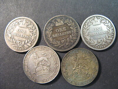 United Kingdom , Five Circulated One Shilling Coins, (Great Britain),