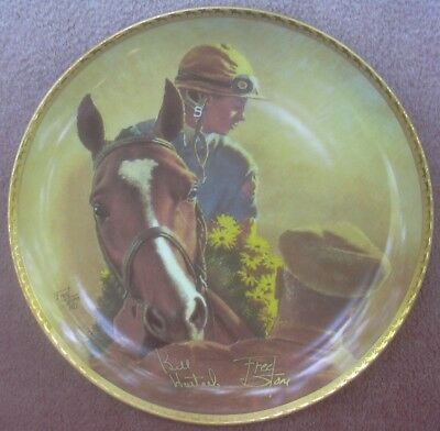 Northern Dancer Race Horse Plate Signed Numbered Bill Hartack Fred Stone Ceramic