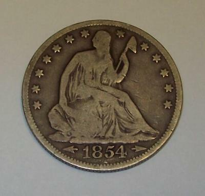 1854  Seated Liberty Silver Half Dollar With Arrows  Coin Nice 50C