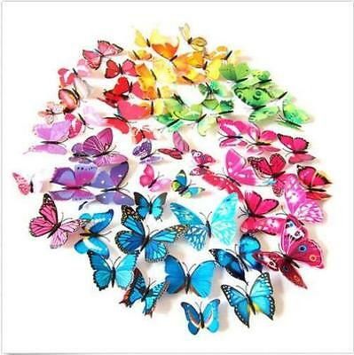 12Pcs Art Design Decal Wall Magnetic Home Party Decor Decorations 3D Butterfly