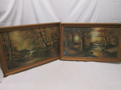 Beautiful Pair Antique Framed Landscape Canvas Paintings Signed Matching Frames
