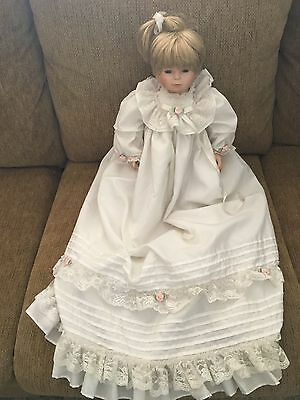 Towle Collectible Porcelain Blonde Doll with Clothes Year 1977