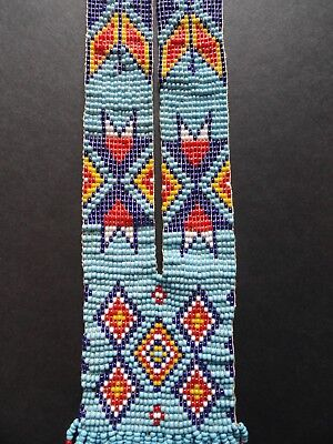 Incredible Vintage Native American Beaded Woven Seed Bead Sash Necklace