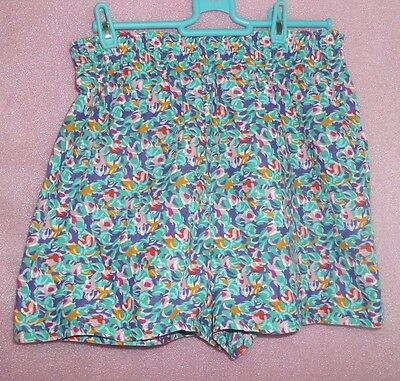 Vintage Ladies Marks And Spencer Bright Pattern Shorts St Michael Size 16 Blue
