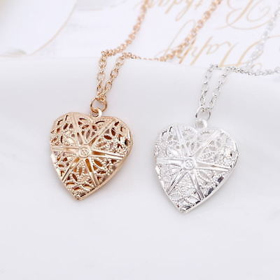 Women Girl Hollow Heart Photo Locket Chic Pendant Chain Necklace Jewelry