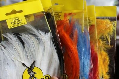 Fly Tying Veniard Long Cockerel neck Hackles feathers packet 6 colours J2