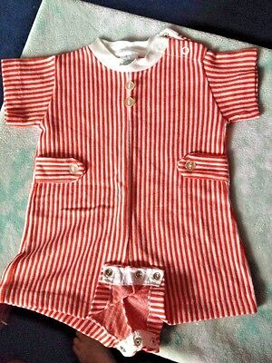 Vintage baby BOYS Infant BUSTER BROWN 12 month 1 pc ROMPER Red/White ADORABLE