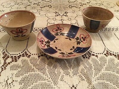 Lot of Three Very Old Soft Paste Pieces of Pottery-Vivid Colors-English/Early Am