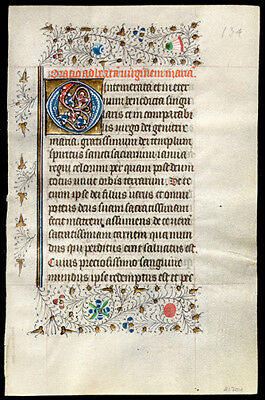 1460 Illuminated Dutch Book of Hours Leaf Large Gold Letter Floral Borders
