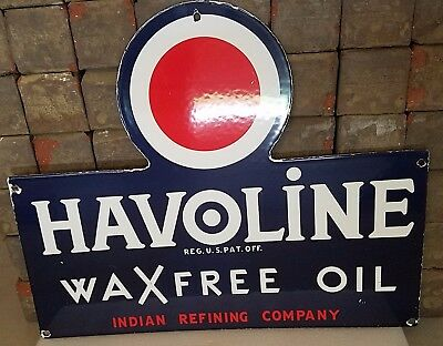 Vintage Indian Refinery Wax Free Porcelain Gas Motor Oil Service Station Sign