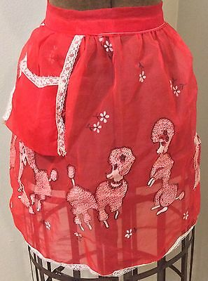 Vintage Sheer Red Chiffon Half Apron Hostess With Poodle Lace Retro Homemaker