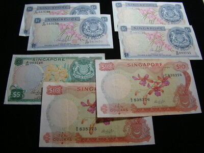 Singapore Group Of 7 Old Banknotes $1.00-$10.00 Circulated Nice!!
